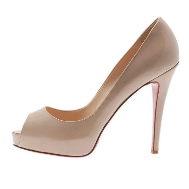 Christian Louboutin Nude Patent Very Prive Peep Toe Pumps Size 37