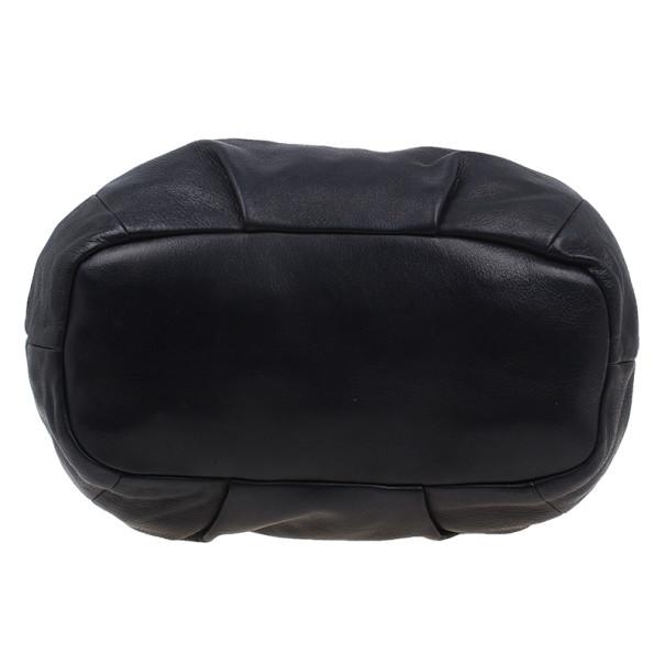 Prada Black Leather Cervo Shine Shoulder Bag