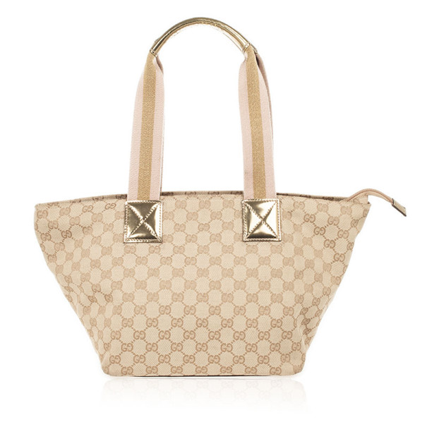 Gucci Beige and Metallic logo Tote