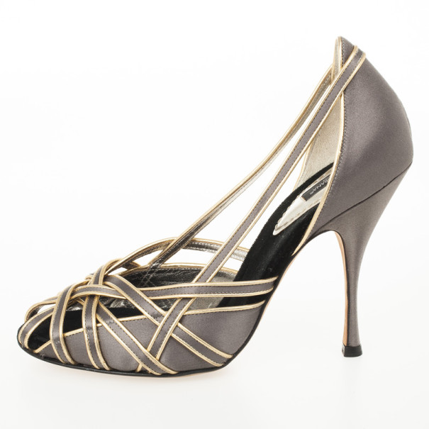 Dolce and Gabbana Grey Satin Strappy Pumps Size 39