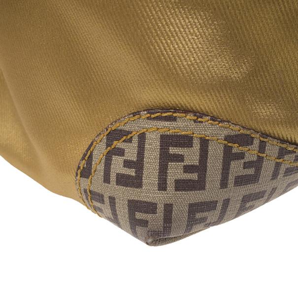 Fendi Gold Coated Canvas and Nylon Large B. Mix Tote