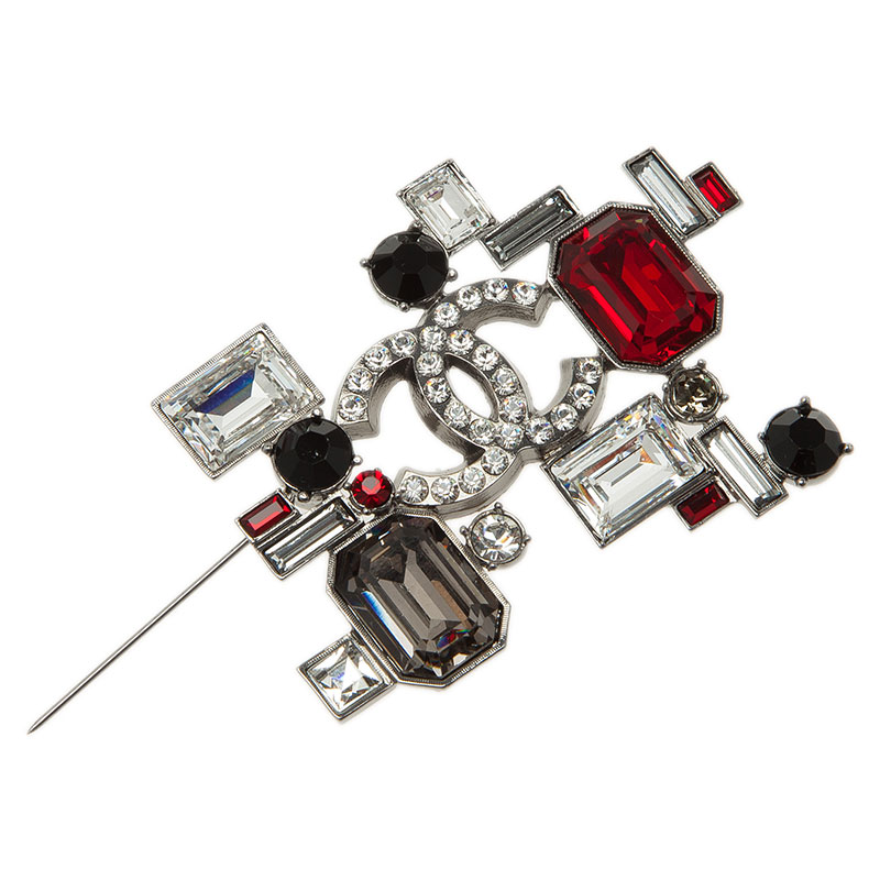 Chanel CC Geometric Black And Red Crystal Silver Tone Brooch