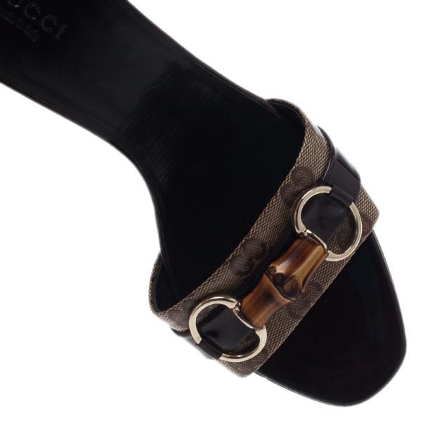 Gucci GG Canvas Bamboo Horsebit Slides Size 39