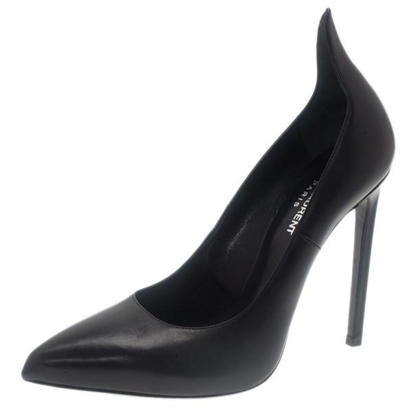 Saint Laurent Paris Black Leather Thorn Pointed Toe Pumps Size 39