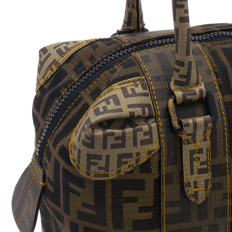 Fendi Brown Zucca Canvas Mixed Media Boston Bag