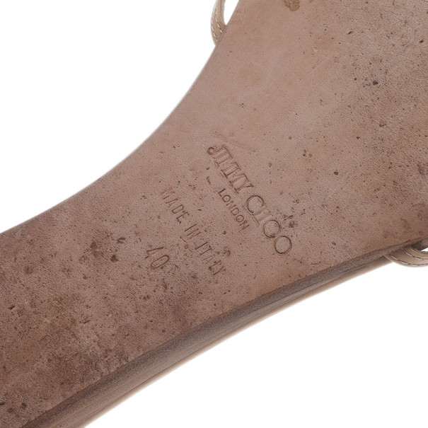 Jimmy Choo Beige Patent Flat Slides Size 40