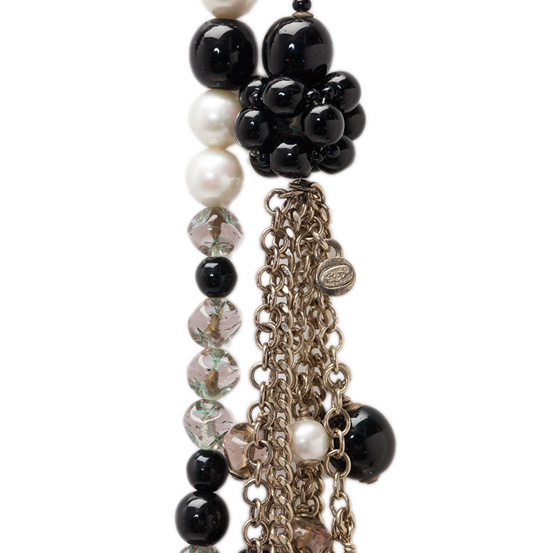 Chanel CC Black And White Faux Pearl Charm Necklace Belt