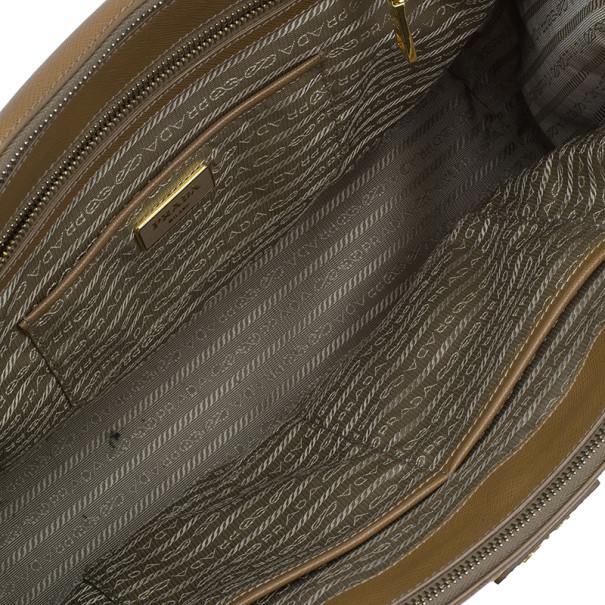 Prada Brown Saffiano Large Lux Double-Zip Tote
