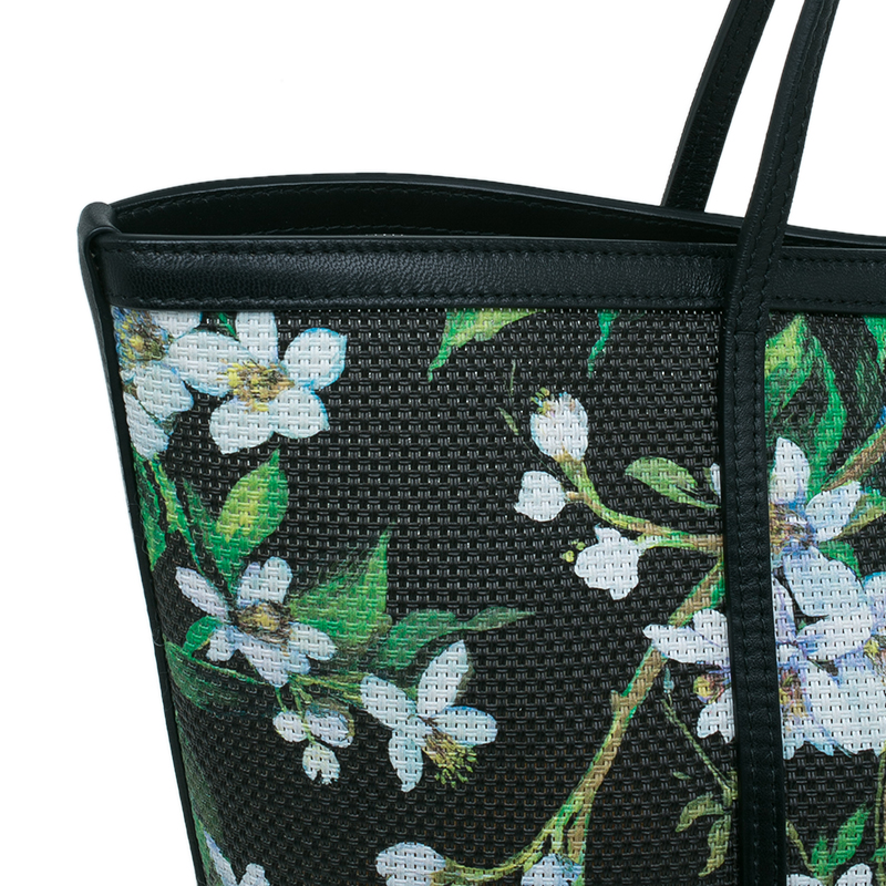 Dolce and Gabbana Black Floral Print Canvas Escape Shopper Tote Bag