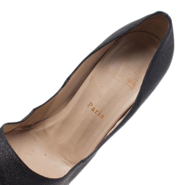 Christian Louboutin Black Glitter Lady Peep Platform Pumps Size 41