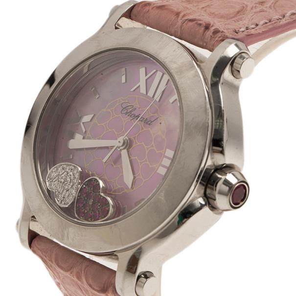 Chopard Pink Stainless Steel Happy Sport Women's Wristwatch 38MM