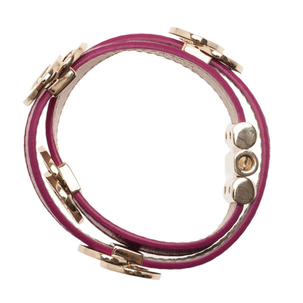 Bvlgari Leather Double Coiled Purple Bracelet S