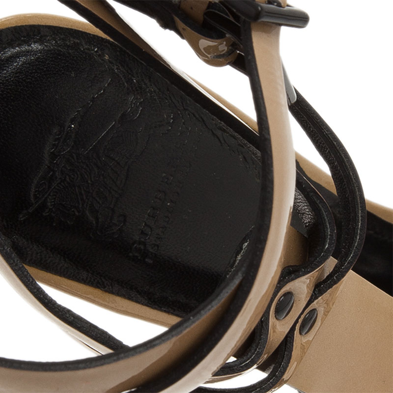 Burberry Beige Leather T-Strap Platform Strappy Sandals Size 36