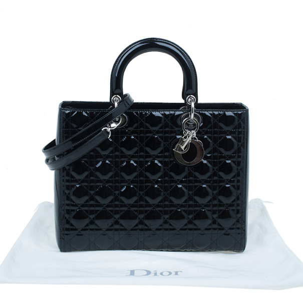 Dior Black Patent Leather Large Lady Dior Bag