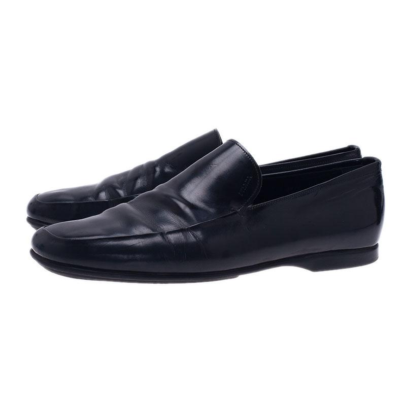 Prada Black Leather Loafers Size 43.5