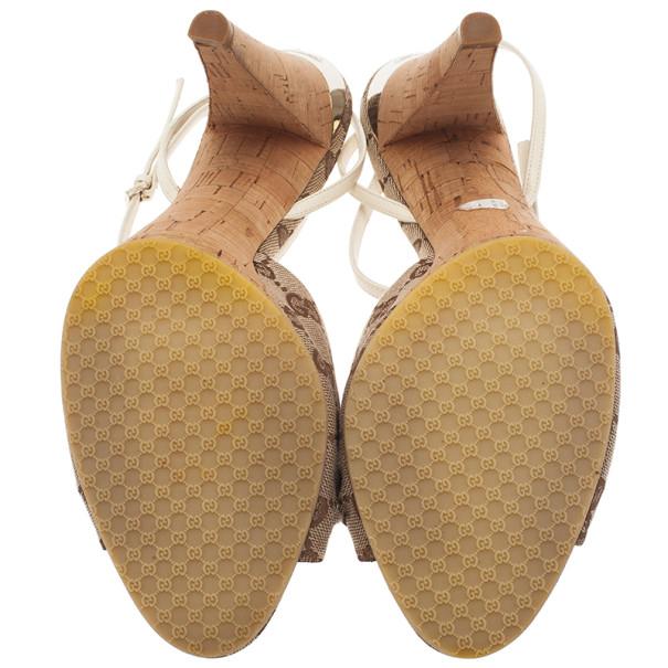 Gucci Beige GG Canvas Ankle Strap Sandals Size 41