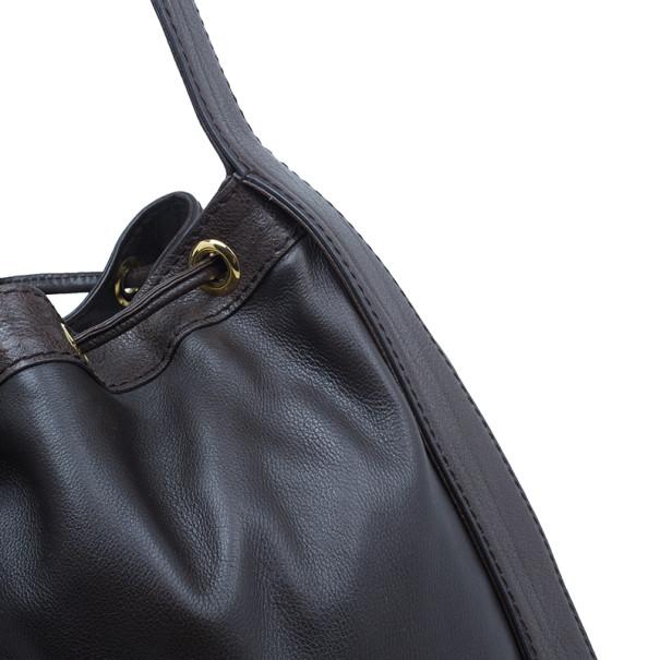 Gucci Brown Leather Interlocking Icon Drawstring Hobo
