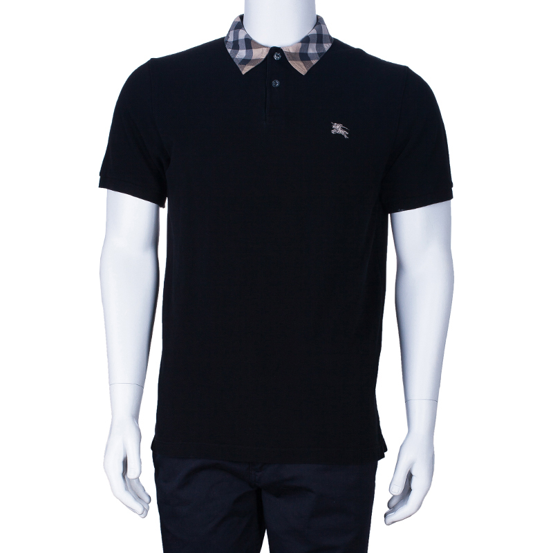 Burberry Men's Black Cotton Polo Shirt M