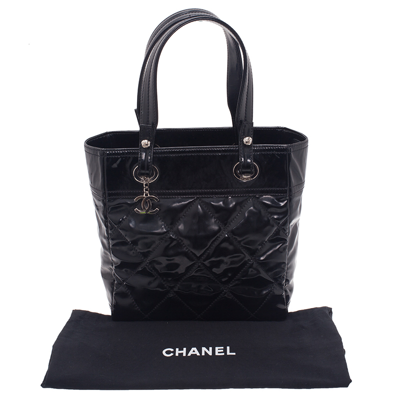 Chanel Black Quilted Patent Leather Petite Paris Biarritz Shopping Tote Bag