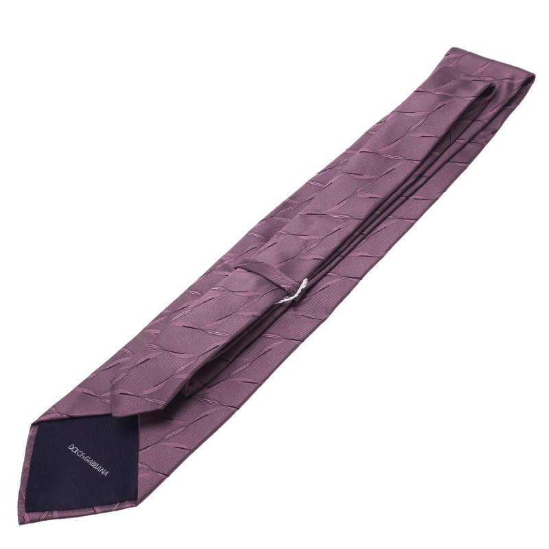 Dolce and Gabbana Purple Patterned Silk Tie