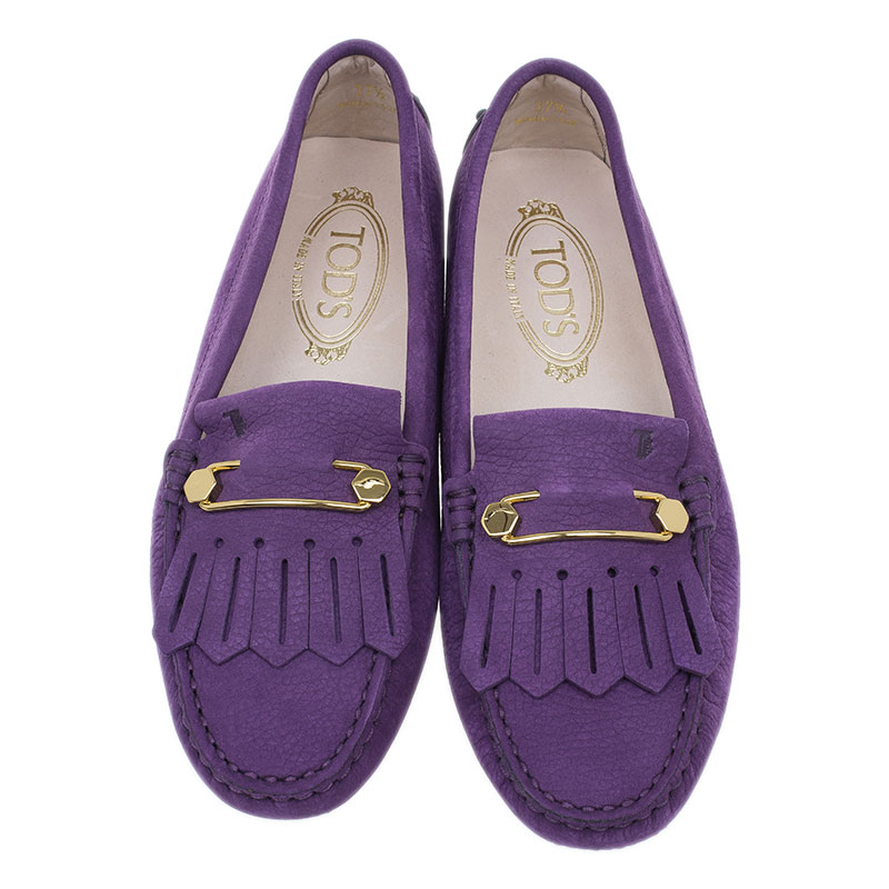 Tod's Purple Suede Heaven Fringe Loafers Size 37.5