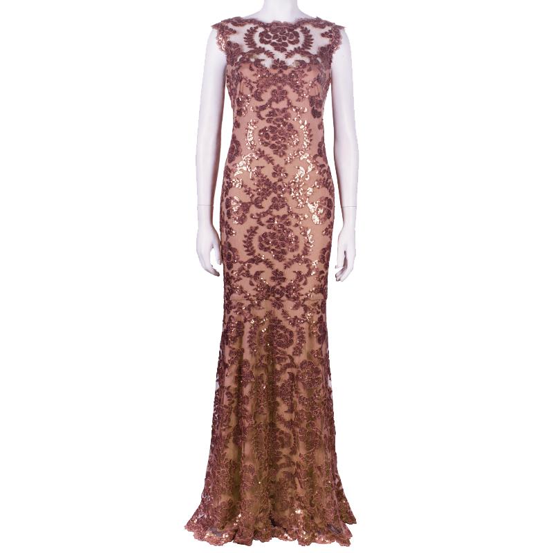 Tadashi Shoji Mocha Embellished Lace Gown M
