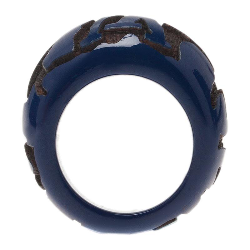 Louis Vuitton Leo Monogram Blue Ring Size 54.5