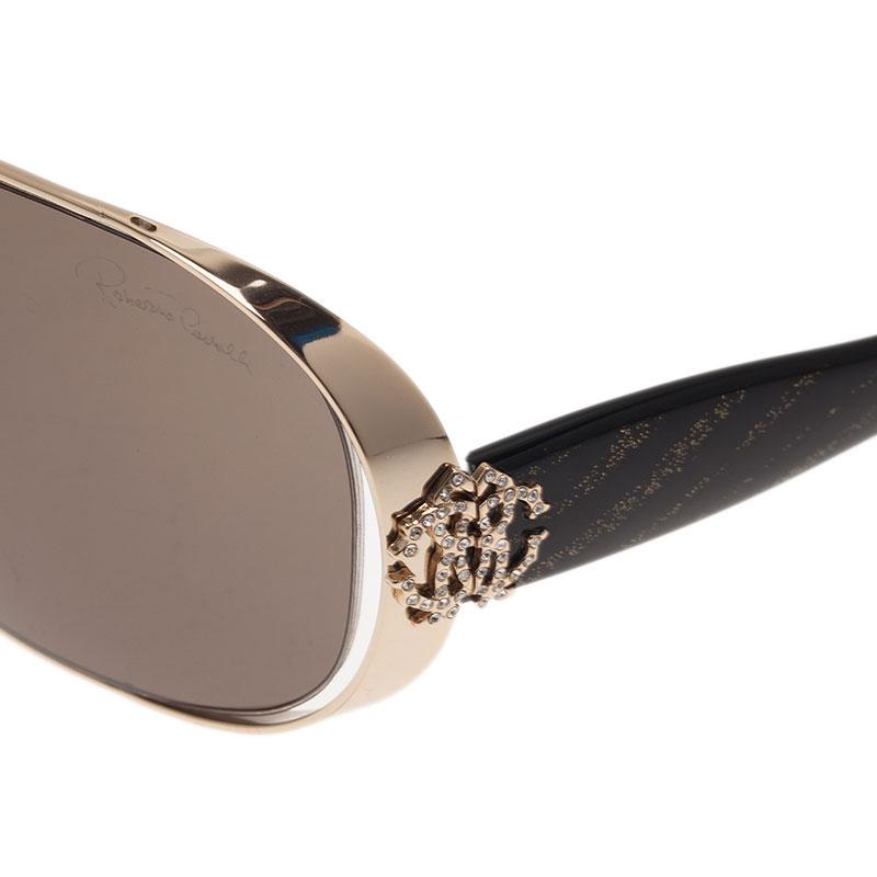 Roberto Cavalli Black and Gold Calendula 534S Round Sunglasses