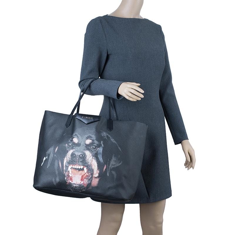 Givenchy Black Coated Canvas Dog Print Large Shopper Tote