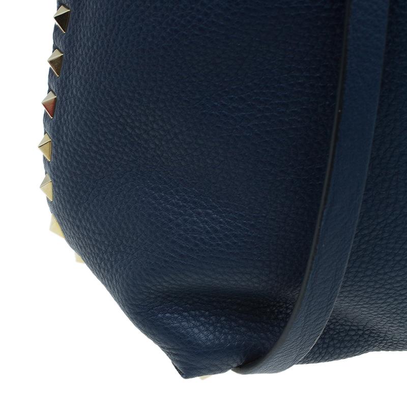 Valentino Dark Blue/Brown Leather Reversible Rock Stud Tote