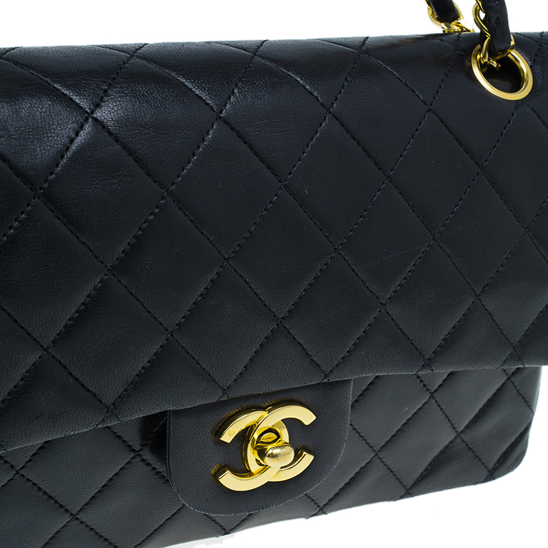 Chanel Black Quilted Lambskin Small Vintage Classic Double Flap Bag