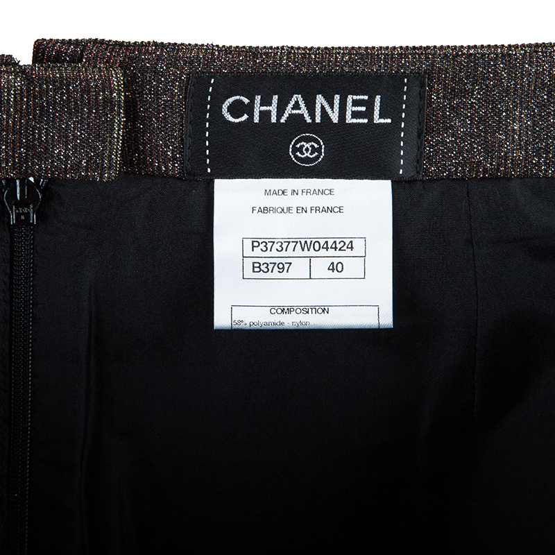 Chanel Metallic Textured Skirt Suit With Pleated Top M