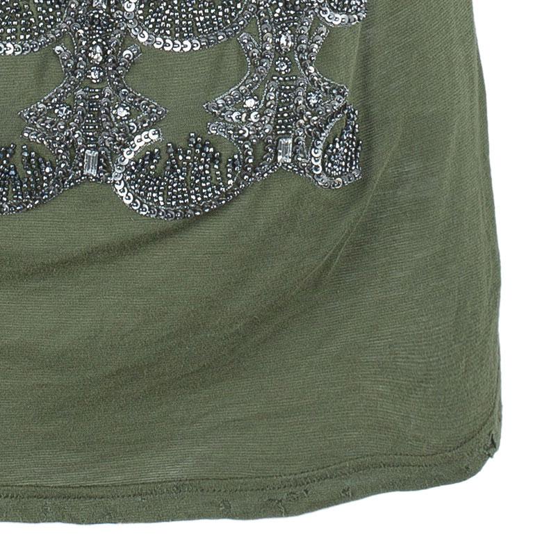 Balmain Embellished Distressed Khaki Top S