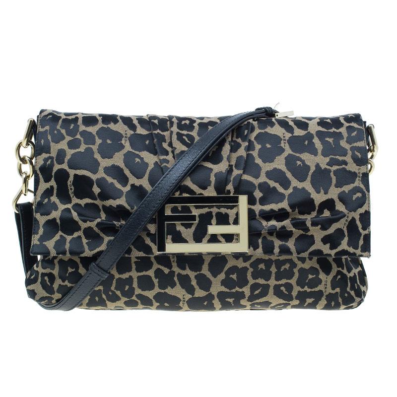 Fendi Black Canvas Animal Print Jacquard New Forever Flap Shoulder Bag