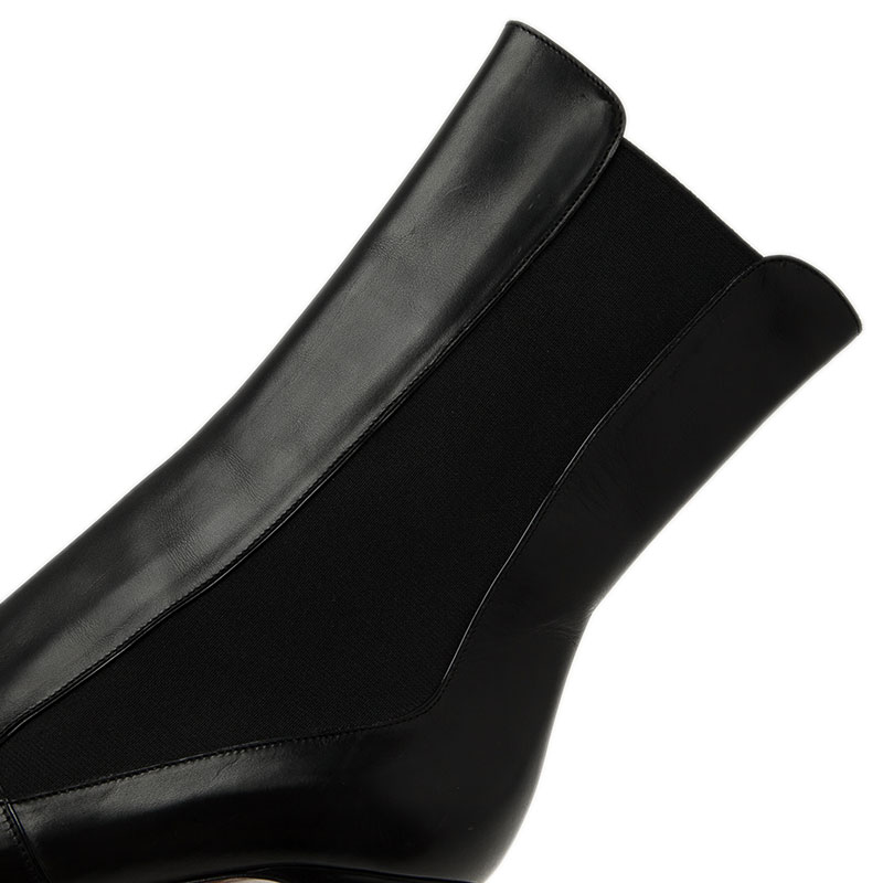 Azzedine Alaia Black Leather and Elastic Panel Mid Calf Boots Size 37