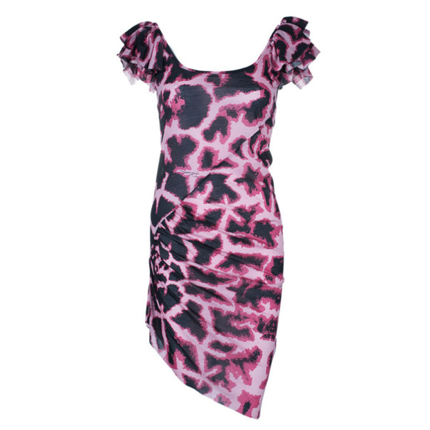 Just Cavalli Leopard Print Scoop Neck Dress S
