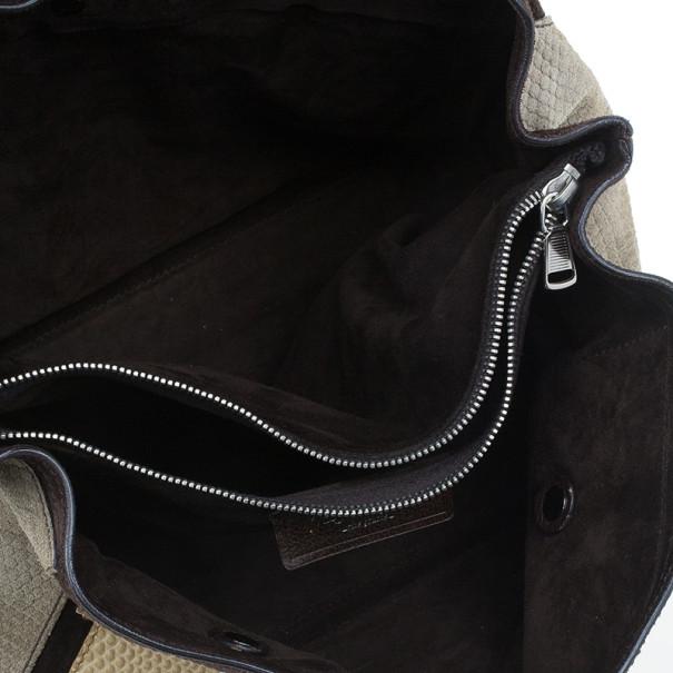 Saint Laurent Paris Beige Colorblock Leather Muse Two Satchel