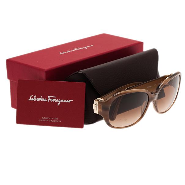 Salvatore Ferragamo Brown SF609S Square Sunglasses