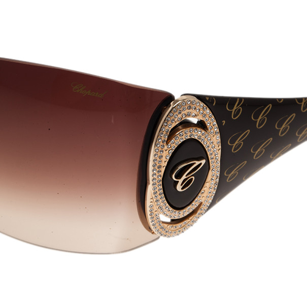 Chopard Brown SCH888O Shield Sunglasses