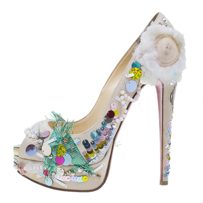 Christian Louboutin Satin 'Make Up Trash' Lady Peep Toe Platform Pumps Size 36