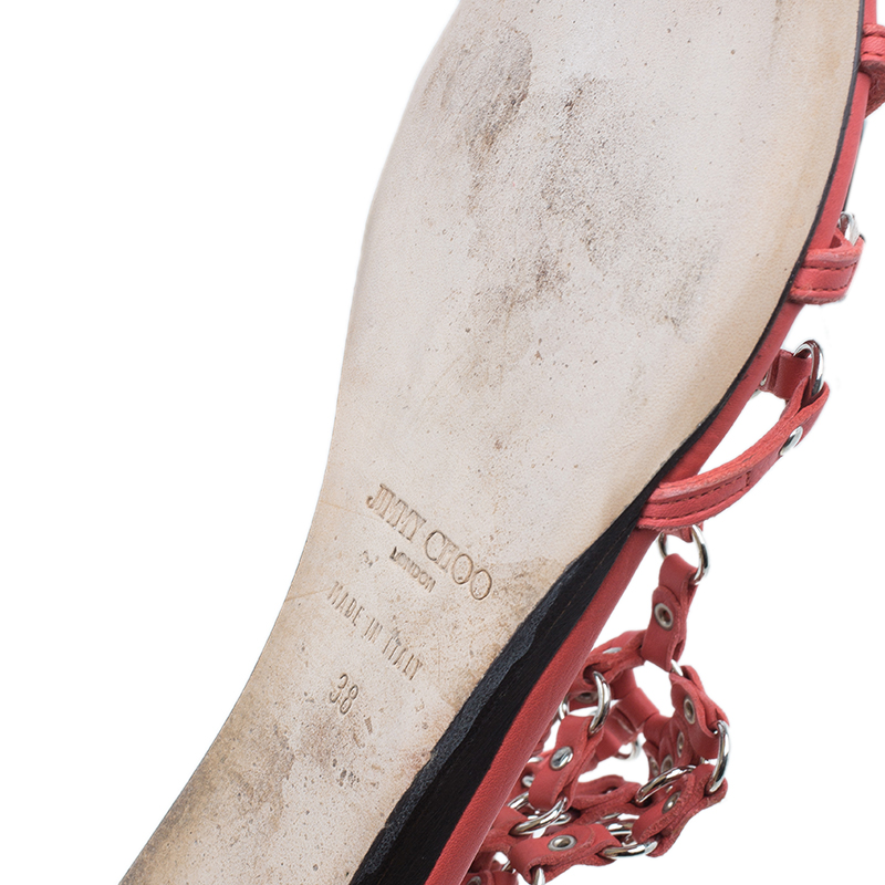Jimmy Choo Orange Studded Leather Gladiator Sandals Size 38