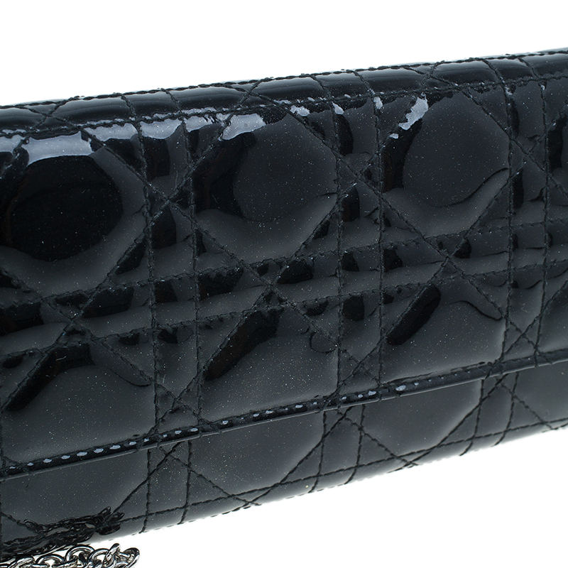Dior Black Lady Dior Patent Cannage Rendez-Vous Chain Wallet