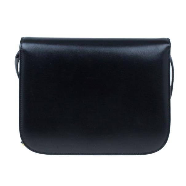 Celine Black Leather Medium Classic Box Shoulder Bag