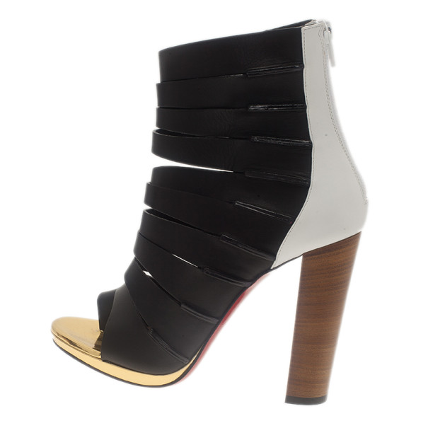 Christian Louboutin Black Leather Decoupata Strappy Booties Size 37.5