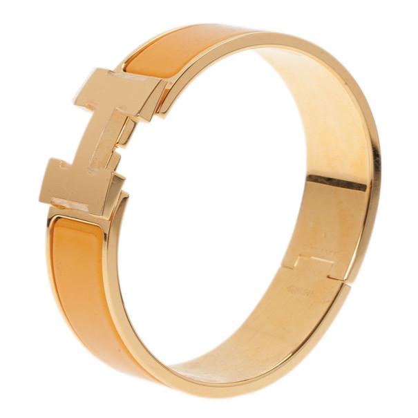 Hermes Clic Clac H Wide Gold-Plated Soleil Bracelet PM