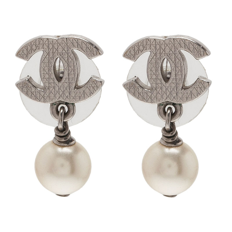 Chanel CC Mini Pearl Earrings