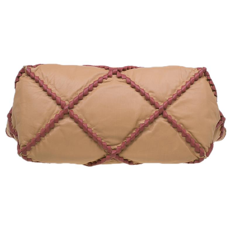 Bottega Veneta Beige Waxed Leather Large Intrecciato Tourmaline Nervature Tote Bag
