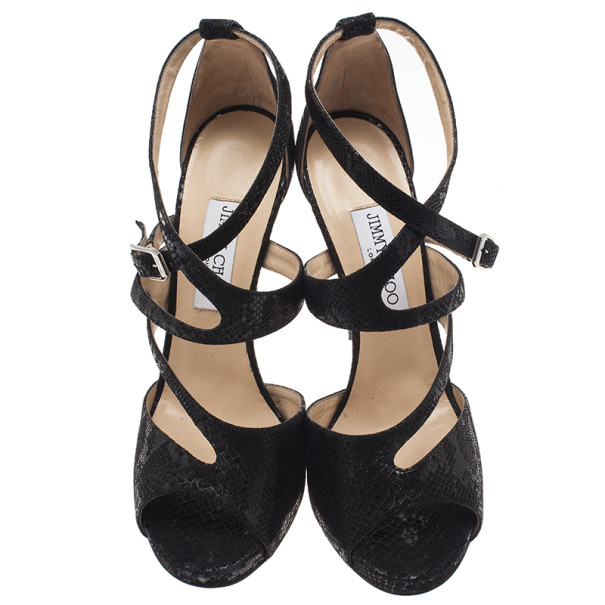 Jimmy Choo Black Python Embossed Virtue Strappy Sandals Size 40