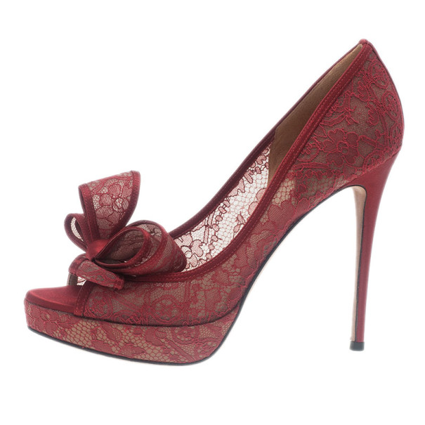 Valentino Red Couture Bow Lace Platform Pumps Size 38.5