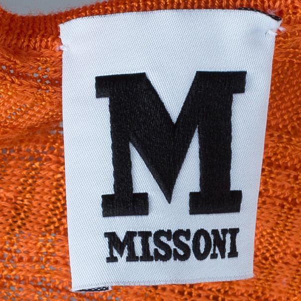M Missoni Orange Knit Racer Back Maxi Dress M